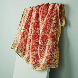 NEW Anthro Vismaya Dahlia Floral Print Silk Scarf